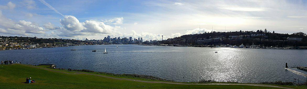Lake View, City, Seattle, Washington, Usa, Water