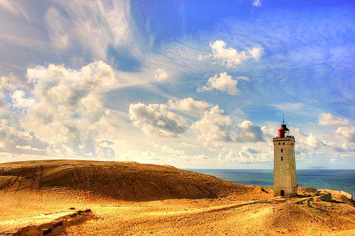 Rubric, Lighthouse, Denmark, North Sea, Rudbjerg Knude