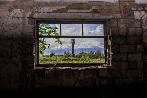 Window, Destroy, Broken, Building, Old, House, Wall