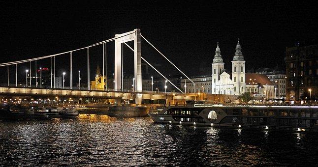 Budapest At Night, Elisabeth Bridge, Suspension Bridge