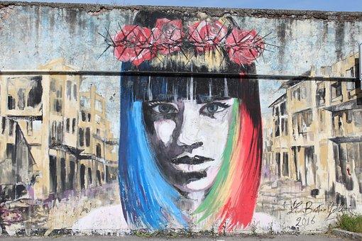 Murals, Face, Girl, Expression, Look, Woman, Street Art