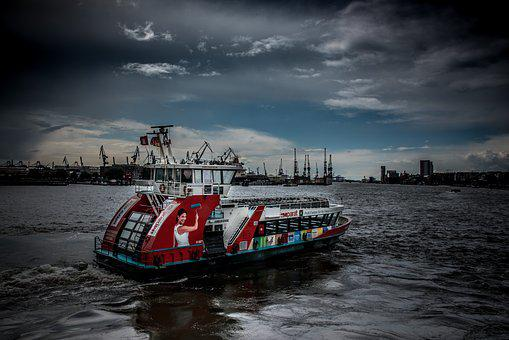Hamburg, Port, Elbe, Hanseatic City, Ferry, Water