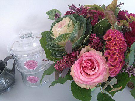 Bouquet, Flowers, Pink, Cabbage Ornamental