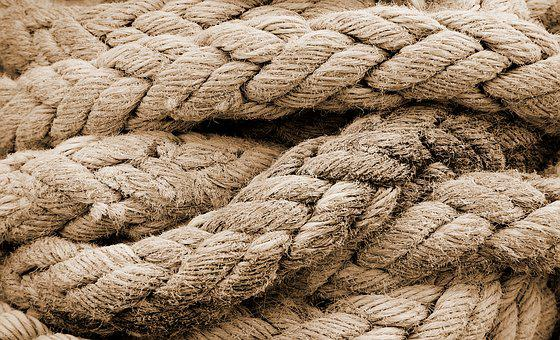 Rope, Frayed, Old, Coiled, Strand, Weave, Sepia, Worn