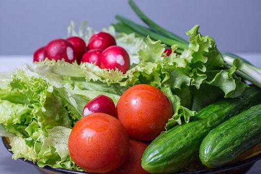 Salad, Fresh, Vegetables, Tomatoes, Green, Food