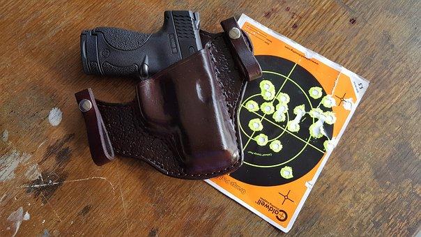Gun, Pistol, Handgun, Weapon, Leather, Holster