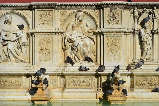 Pigeons, History, Fountain, Italy, Relief, Architecture