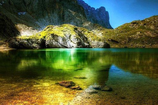 Lago Coldai, Dolomites, Mountains, Italy, Alpine