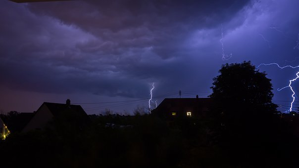 Lightning, Night, Flash, Thunder, Dark, Space, Sky