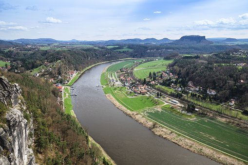 Elbe, River, Elbe Sandstone Mountains, Water, Landscape