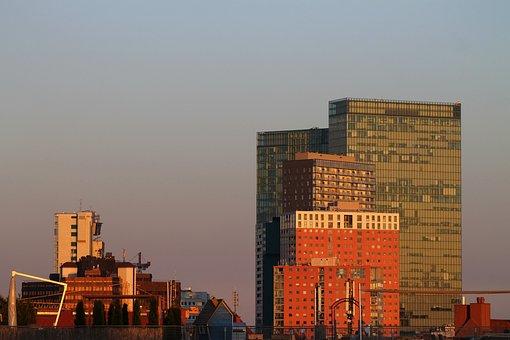 Sunrise, Wienerberg City, Sky, Clouds, City