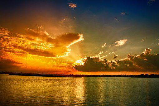Sunset, Clouds, Sky, Nature, Depth, Blue, Sun, Red