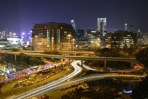 Traffic, Hong Kong, Nightlife, Transportation, Urban