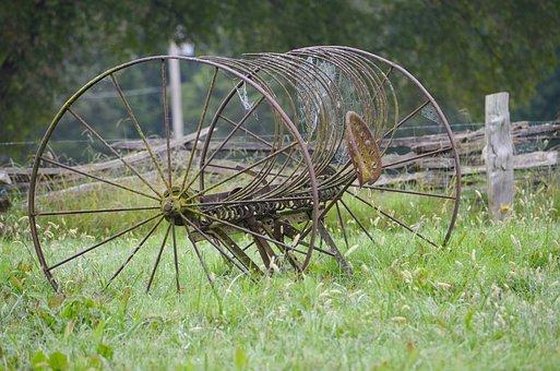 Hay Rake, Vintage Farm Equipment, Farm Equipment