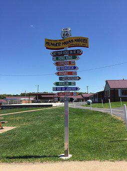 Sign, Route, 66, Road, Travel, Old, Usa, America