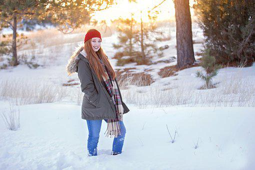 Winter, Redhead, Girl, Woman, Young, Female, Attractive