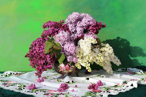 Lilac Bouquet, Flower Vase, Purple, Blossom, Bloom