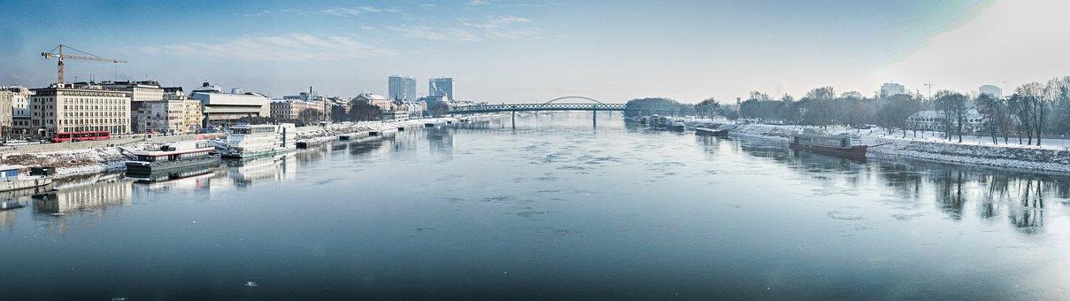 Bratislava, Panorama, Winter, Riek, Bridge