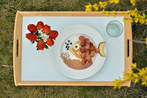 Breakfast, Creative, Fish, Fruit, Rose, Strawberries