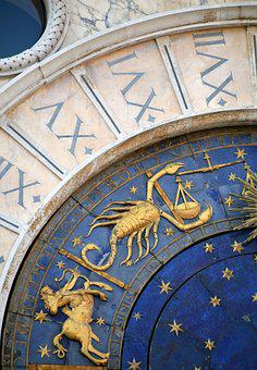 Venice, Italy, Zodiac Sign, Clock, Cathedral