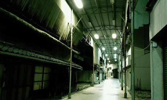 Shopping Street, Lonely, Abandoned, Dim