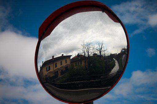 Mirror, Traffic Mirror, Mirroring, Traffic, Reflection