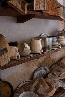 Shelf, Old Pots, Vintage, Pot, Old, Retro, Rustic