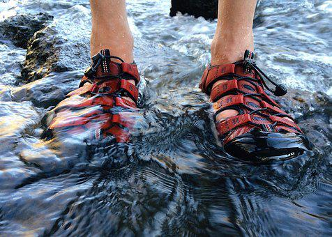 Sandals, Person, Nature, Outdoor, River, Water, Leisure