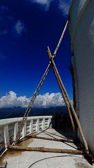 Head, Bamboo, Construct, Stupa, Nepal, Pokora, Scaffold