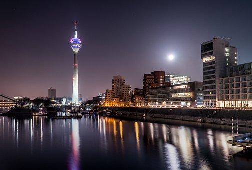 Düsseldorf, Media Harbour, Architecture, Modern, Port