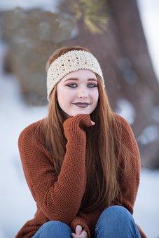 Beautiful, Redhead, Winter, Snow, Girl, Hair, Woman