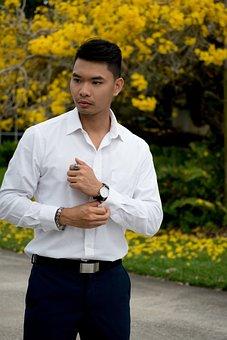 Asian, Summer, Spring, Yellow Flowers, Man, Businessman