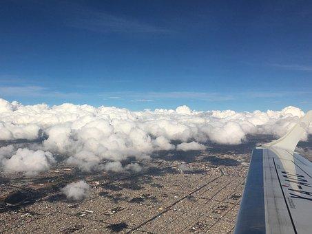 Cloud Over City, Flight, Wing, Sky, City, Plane, Travel
