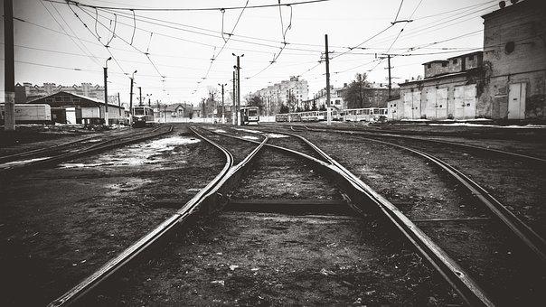Tram, Depot, Russia, Black, Urban, City, Wire, Omsk