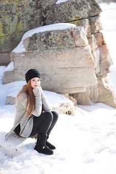 Winter, Rocks, Redhead, Snow, Girl, Woman, Lady, Pretty