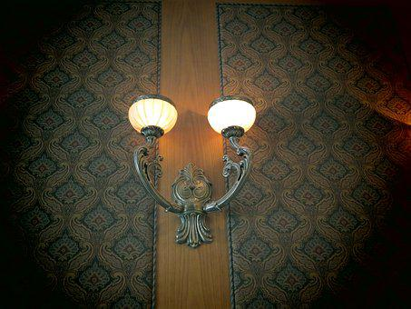 Lamp, Sconce, Light, Lightbulb, Wrought Iron, Wrought