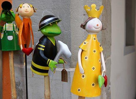 Frog, Princess, Figures, Woman, Animal, Crown, Yellow