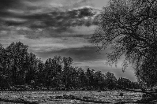 Dramatic, Water, River, Nature, Mood, Black White, Bank