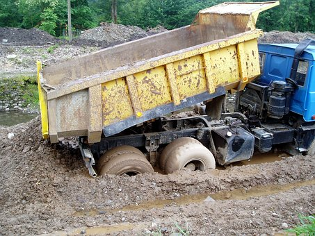 Tatra In The Mud, Building, Dump Truck