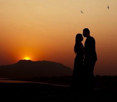 Couple, Sky, Evening, Sunset, Romantic, Engaged