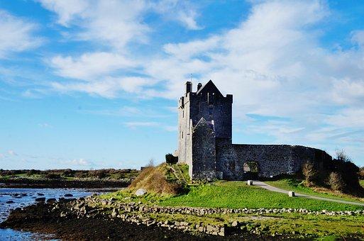 Ireland, Galway, Dunguaire, Castle, Sea, Ocean, Cloud