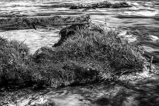 Dramatic, Water, Grass, Grasses, Nature, Bank