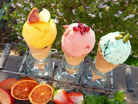 Ice Cream, Ice Cream Flavors, Fruits, Waffles