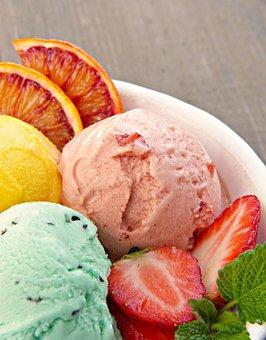 Ice Cream Sundae, Ice Cream, Fruit Ice Cream, Mint