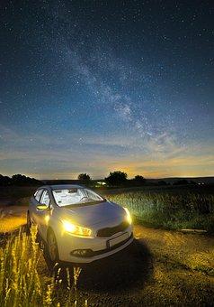 Auto, Night, Lights, Long Exposure, Traffic