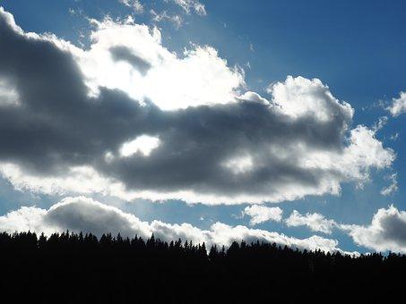 Clouds, Sun Behind The Clouds, Sky, Sun, Nature