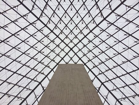 Louvre, Pyramid, Mesh, Perspective, Losange, Sky