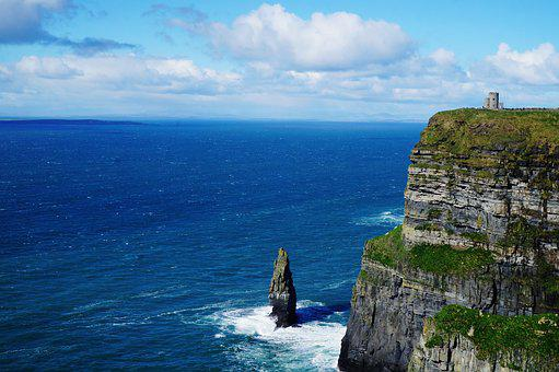 Ireland, Galway, Clare, Cliff, Moher, Sea, Ocean, Cloud
