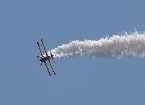 Tough Day At The Office, Wing Walker, Biplane, Smoke