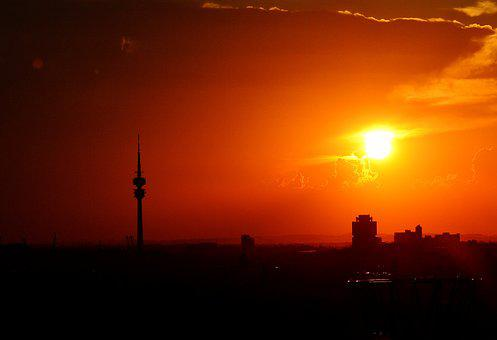 Munich, Sunset, Silhouette, Skyline, Tv Tower